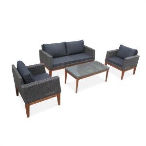 Salon de jardin Valencia en bois et résine tressée arrondie, coussins gris anthracite, 4 places assises, design scandinave ALICE S GARDEN