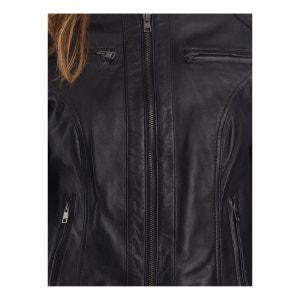 1f4b47a12cf1c Blouson femme style motard en cuir noir, Lina DAYTONA. DAYTONA