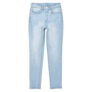 Slim jeans met hoge taille, gescheurd 10-16 jr La Redoute Collections