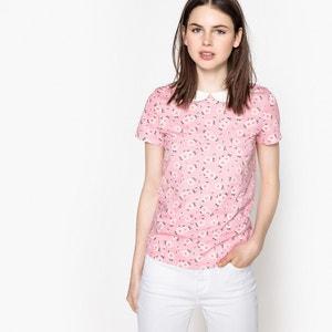 Bedrukt T-shirt met Claudinekraag en korte mouwen MADEMOISELLE R