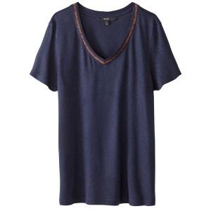 Tee shirt col v uni, manches courtes VERO MODA