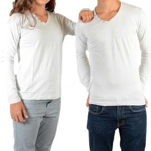 Tee Shirt Basic V LS Mixte (Garçon / Fille) Gris Clair Ciment LITTLE ELEVENPARIS