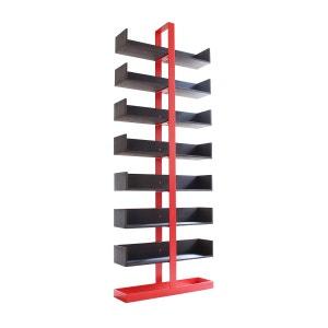 Bibliothèque design acier rouge et bois Séverin ALEX DE ROUVRAY DESIGN