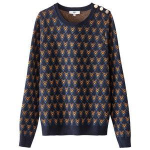 Sweter żakardowy z okrągłym dekoltem, dzianina o cienkim splocie SUNCOO