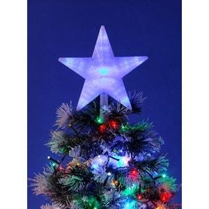 Grand cimier lumineux étoile pour pointe de sapin de Noël - 31 LED bleues - Multi effets ! NONAME