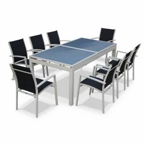 Salon de jardin 8 fauteuils table à rallonge auto extensible 200/260cm alu blanc textilène gris ALICE S GARDEN