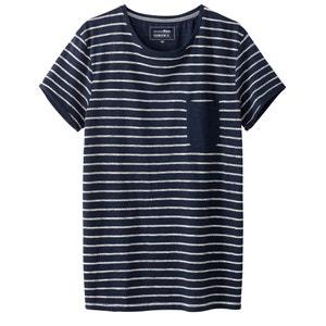 T-shirt à rayures avec poche sur poitrine TOM TAILOR