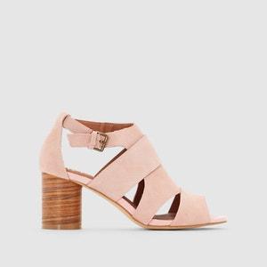 Sandálias em pele, tacão redondo, efeito madeira R studio