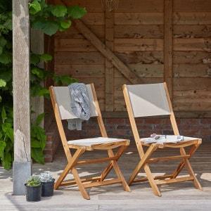 Lot de 2 chaises en bois d'acacia et textilène BOIS DESSUS BOIS DESSOUS
