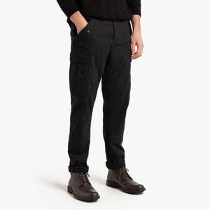 Cargo broek, slim model in slub katoen