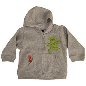 Sweat zippé bébé capuche coton gris customisé avec grenouille brodée RIKIKI KIDS