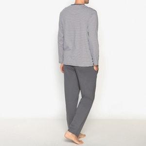 Pyjama, gestreept bovenstuk met lange mouwen, 100% katoen ATHENA