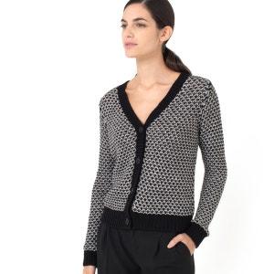 Cardigan in maglia stile tweed con fili lurex LAURA CLEMENT
