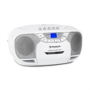 auna BeeBerry Boom Box Ghettoblaster Radio FM lecteur CD MP3 K7 USB - blanc AUNA