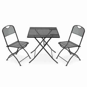 Salon de jardin bistrot pliable Lina carré anthracite avec 2 chaises pliantes, acier thermolaqué , table et chaises perforées ALICE S GARDEN