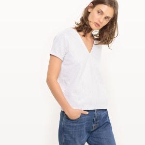 Tee-shirt jacquard à pois, col V R studio