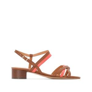 Leren bicolor sandalen met hak ANNE WEYBURN