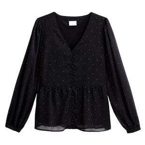 Soepele blouse met V-hals en knoopsluiting