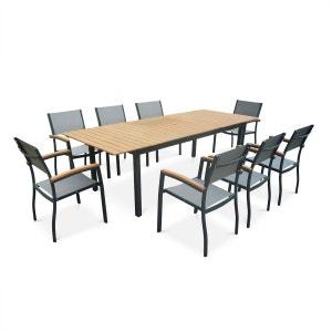 Salon de jardin en bois et aluminium Sevilla, grande table 200-250cm ALICE S GARDEN