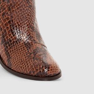 Boots in leer met python effect La Redoute Collections