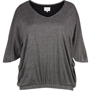 Effen blouse met V-hals, 3/4 mouwen ZIZZI
