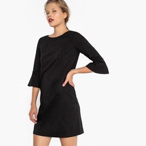Платье прямое с красивой спинкой и широкими рукавами