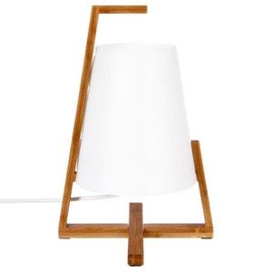 Lampe moderne à poser en bambou et abat-jour blanc D21xH32cm PIER IMPORT