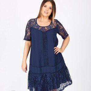 Effen halflange rechte jurk met korte mouwen KOKO BY KOKO