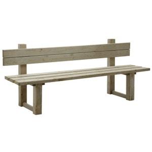 Banc de jardin avec dossier en bois traité autoclave vert gris AUBRY GASPARD