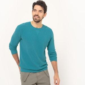 Jersey con cuello redondo de punto fantasía 100% algodón La Redoute Collections