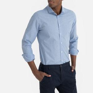 Recht hemd met smalle strepen, lange mouwen