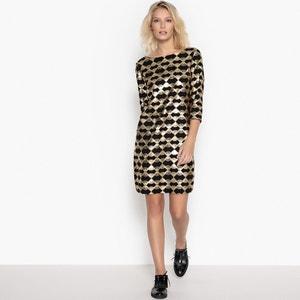 Vestido corto, estampado gráfico, efecto brillante La Redoute Collections
