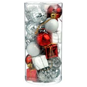 Kit déco pour sapin de Noël - 24 Pièces - Rouge, argent et blanc ATMOSPHERA