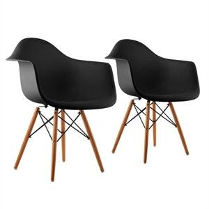 oneConcept Bellagio Set de 2 chaises de salon design style rétro ? noir ONECONCEPT