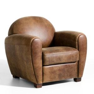 Canape cuir vieilli marron