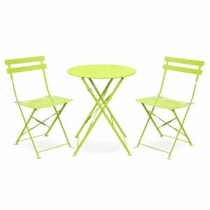 Salon de jardin bistrot pliable Emilia rond vert anis, table Ø60cm avec deux chaises pliantes, acier thermolaqué ALICE S GARDEN