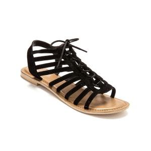 Sandales cuir velours à lacets style spartiates BALSAMIK
