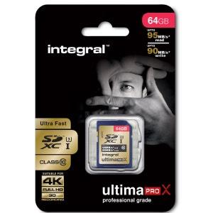 Cartes memoire INTEGRAL SDXC 64 GO CL 10 95/90 INTEGRAL