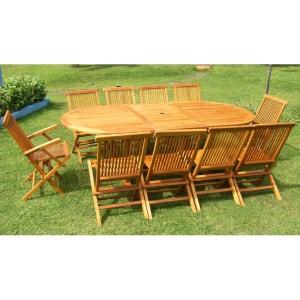 Lubok: Salon de jardin Teck huilé 10/12 pers - Table ovale 120 cm + 8 chaises + 2 fauteuils CONCEPT USINE