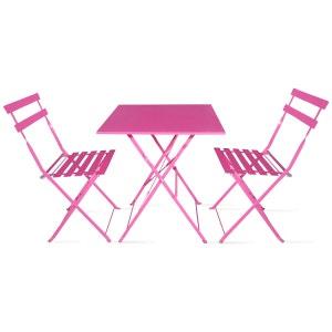 Table bistrot de jardin et 2 chaises pliantes BOUTIQUE-JARDIN