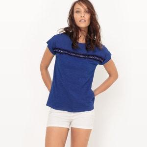 T-shirt col rond, détail broderies R édition