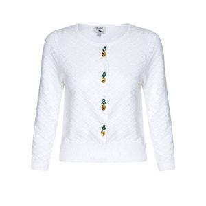 Cárdigan con cuello redondo y botones de piña, 100% algodón YUMI