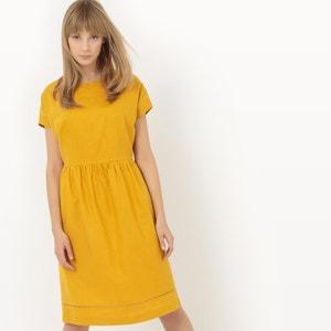 Lniana sukienka marszczona w pasie R essentiel