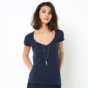 Camiseta de algodón orgánico, cuello de pico R essentiel