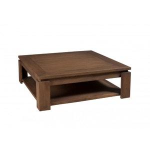 Table basse carrée bois acajou cannelle 90cm LOUNA PIER IMPORT