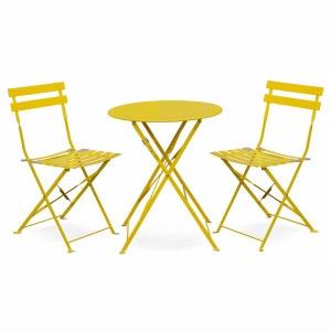 Salon de jardin bistrot pliable Emilia rond jaune, table Ø60cm avec deux chaises pliantes, acier thermolaqué ALICE S GARDEN