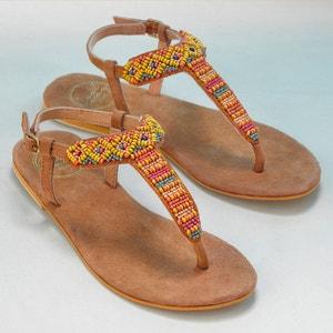 Sandálias em pele, com entrededos, tacão raso, MIAMI COOLWAY