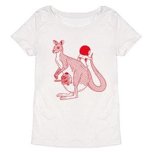 Tee-shirt femme en coton bio blanc Kangaloo MONSIEUR POULET