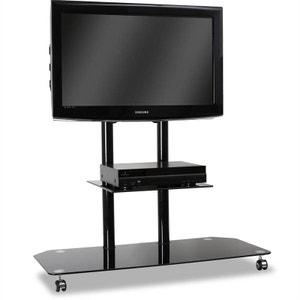 Support TV pied verre & aluminium roulettes noir ELECTRONIC STAR