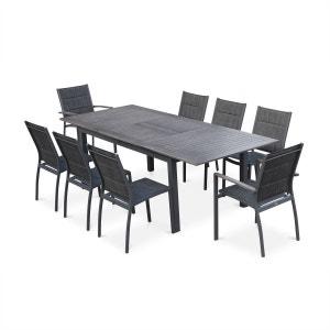 Salon de jardin Chicago 8 places table à rallonge extensible 175/245cm alu gris ALICE S GARDEN